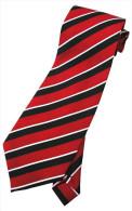 Red White Black Striped Men Formal Fashion SILK NECK TIE - Other