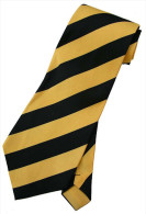 Yellow Black Striped Men Formal Fashion SILK NECK TIE - Other