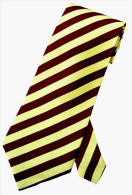 Yellow Maroon Striped Men Formal Fashion SILK NECK TIE - Other