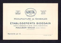 Carte De Visite Ancienne.  Fabrique De Sandales GOUIK.   Ets BIDEGAIN  à  Mauléon-Soule. - Cartoncini Da Visita