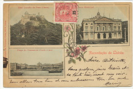 Lisboa  Recordaçao De Lisboa Multi Vues  Tabacaria Costa 1904 Pli Coin Inf. Droit - Lisboa