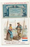 Chromo 7 By 10,5 Peche Papier Monnaie Billet Bank Note Tien Gulden Pub Chicorée Arlatte Cambrai - Holanda