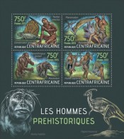 ca13401a Central African 2013 Prehistoric humans Dinosaur Elephant s/s