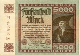 Deutschland, Germany - 5000 Mark, Reichsbanknote, Ro. 80 C, VF, 1923 ! - 1918-1933: Weimarer Republik
