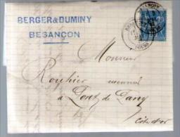 France TP Sage 90 - CAD Besançon 5-05-1881 Pour Rouhier Pont De Pany - Lettre LAC Berger & Duminy - Marcophilie (Lettres)