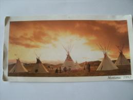 Montana    Tente   Indienne   Carte  Format   Panoramique - Etats-Unis