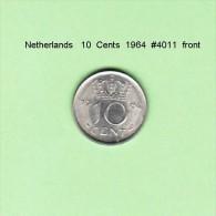NETHERLANDS    10  CENTS  1964  (KM # 182) - [ 3] 1815-… : Kingdom Of The Netherlands