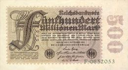 Deutschland, Germany - 500 Mio. Mark, Reichsbanknote, Ro. 109 A,  ( Serie F ) XF - VF ( II- ), 1923 ! - [ 3] 1918-1933 : Weimar Republic