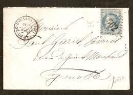 LSC Le Bourg D'Oisans Pour Grenoble 02-08-1870,Affr 20c N° 29,Cachet Type 16, GC 562 (indice 5) Très Belle Présentation - Postmark Collection (Covers)