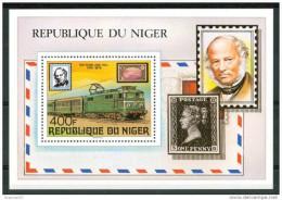 1979 Niger Rowland Hill Treni Railways Trains Personaggi Characters Caracteres Block MNH** F12- - Trains