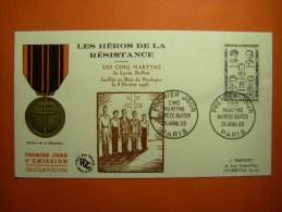 France Série 1959 Héros Résistance Martyrs Moutardier Mederic-védy Martin-bret Le Roux 1198 A 1202 FDC 1ER JOUR - France