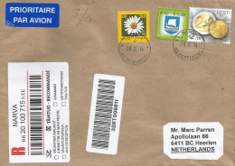 Eesti Estonia 2014 Narva Euro Coins Viking Ship Flower Barcoded Registered Cover - Monnaies