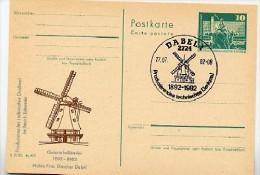 Windmühle Dabel DDR P79-27-82 C196 Postkarte Zudruck Sost. 1982 - Windmills