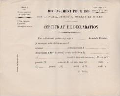 CIRCULAIRE -RECENSEMENT POUR 1888 DES CHEVAUX, JUMENTS, MULETS ET MULES- - Décrets & Lois