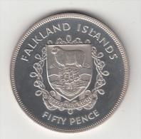 FALKLAND 1977 - 50 PENCE ARGENTO GR. 28 GRAMMI FONDO SPECCHIO PROOF - Falkland