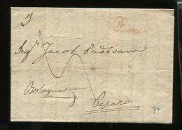 1839  RARA PREFILATELICA  DA  PISA CORSIVO  ROSSO  X  PESARO TAGLI DI DISINFEZIONE  INTERESSANTE  TESTO STORICO - Italia
