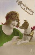 FEMMES - FRAU - LADY  - CHIEN - DOG - Jolie Carte Fantaisie Portrait Femme Et Chien - Chiens