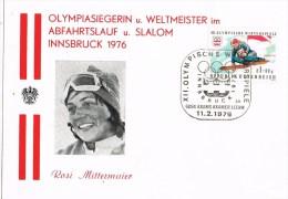 7505. Tarjeta Ski Olimpiada Innsbruck 1976. Rosi Mittermaier - Invierno 1976: Innsbruck