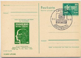 Esperanto-Messetreffen Leipzig DDR P79-1b-84 C219-a Postkarte PRIVATER ZUDRUCK  Sost. 1984 - Esperanto