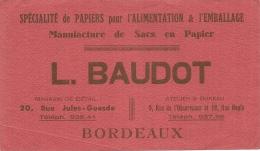 BAUDOT  SPECIALITE DE PAPIERS Bordeaux  TTB - Stationeries (flat Articles)