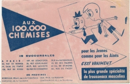 Buvard Magasin Textile 100 000 Chemises - Marseille Lille Chateauroux Paris Bordeaux - Textile & Vestimentaire