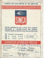Automobile/Certificat De Garantie Voiture SIMCA/1952         AC55 - Cars