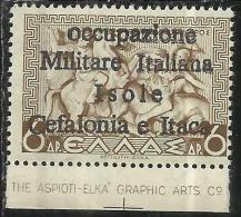 OCCUPAZIONE ITALIANA: ITACA 1941 CEFALONIA MITOLOGIA 6 DRACME DRX MNH SIGNED FIRMATO - 9. Occupazione 2a Guerra (Italia)