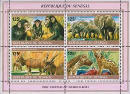 Chimpanzee, Elephant, Hyena, Derby, National Park, Wild Life, MS MNH Senegal - Senegal (1960-...)