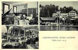 Suisse -ref C362- Carte Publicitaire 2 Petits Volets -carlton Hotel Tivoli Lucerne - Carte Pliée En 2 Bon Etat  - - LU Lucerne