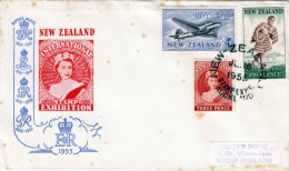 NEW ZEALAND 1955, Beautiful Rare 3 X Postage On Letters To Holland, Schöne Seltene 3 Fach Frankierung Auf Brief ... - Luftpost