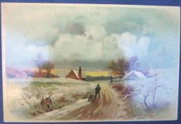 Ancienne Chromo 18 X 12  Litho Carte Rigide 19è Paysage D'hiver Aiguebelle Chocolat Monastere Trappe Drome - Aiguebelle