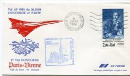 ENVELOPPE CONCORDE 1er VOL PARIS - VIENNE 26.10.84 - Concorde