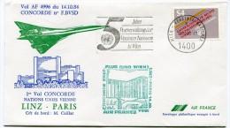ENVELOPPE CONCORDE 1er VOL CONCORDE NATIONS UNIES VIENNE LINZ - PARIS 14.10.84 - Concorde