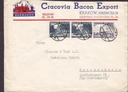 Polans CRACOVIA BACON EXPORT, KRAKOW 1937 Cover Brief To BRAUNSCHWEIG Germany (2 Scans) - 1919-1939 République