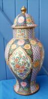 Grande Potiche En Faience Ou Porcelaine Hauteur 43 Cm - Céramiques
