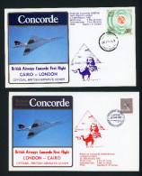 CONCORDE British Airways Plis/covers First Flight London-Cairo-London, March 28, 1981, Complets Avec Certificat - Concorde