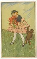 Jeux Enfants Artist Teddy Bear Nounours  Italian Card - Jeux Et Jouets