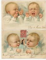 2 Cartes Bébés Gaufrée Artiste Dessin  Biberon Lait Milk - Cartes Humoristiques
