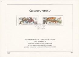Czechoslovakia / First Day Sheet (1989/10a) Praha: WWF - Amphibians (Bombina Bombina, Triturus Montandoni) - W.W.F.