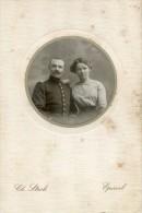 Belle Photo - Couple Avec 1 Militaire De La Coloniale - Epinal - Ch Stroh - Personnes Anonymes