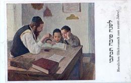 AK RELIGION JUDAIKA GLÜCKLICHES NEUES JAHRES JÜDISCHE ,Lehrer Und Kinder,B.K.W.I. 624./3.OLD POSTKARTE . - Judaisme