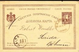 SERBIE - 1889 - CARTE ENTIER De BELGRADE Pour HAIDA (BOHEME) - Serbie