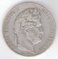 FRANCIA 5 FRANCS 1848 PHILIPPE I AG SILVER - Francia