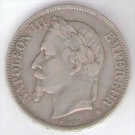 FRANCIA 5 FRANCS 1868 NAPOLEON III AG SILVER - Francia