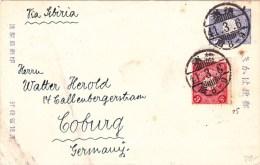 JAPAN - 1908 - CARTE POSTALE ENTIER De YOKOHAMA Pour COBURG (ALLEMAGNE) - Postcards