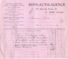 Automobile/Facture De Dépannage Et Réparation/Sens Auto Agence/YONNE//1922  AC61 - Cars