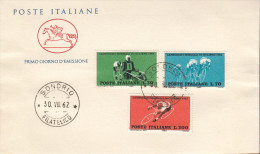 ITALIE ITALIEN ITALY 1962 CICLISMO  FDC   B - 6. 1946-.. Republik