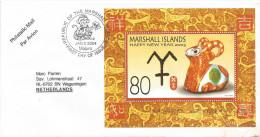 Marshall Islands 2004 Majuro Ape Monkey Goat Chinese New Year Miniature Sheet Cover - Marshalleilanden