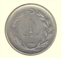 @Y@  Turkije   1  Lira  1960     (item 2690) - Türkei