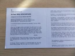 Doodsprentje Willy Deschryver Adinkerke 17/1/1935 Veurne 2/2/2000 ( Gilberte Bulthé) - Religión & Esoterismo